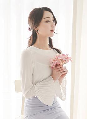 百褶袖女衬衫