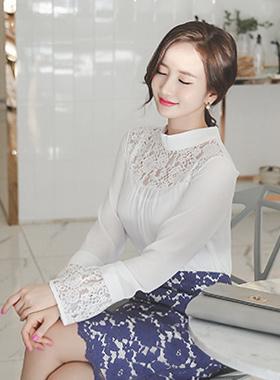 透明玫瑰蕾丝女衬衫