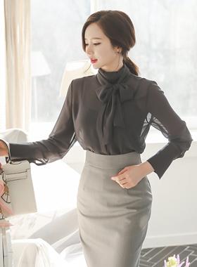 透明长围巾女衬衫