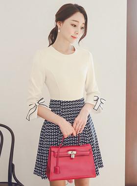 丽娜零售带状波浪群/喇叭裙连衣裙