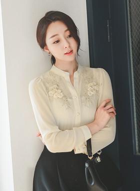Syareumang金玫瑰刺绣女衬衫