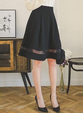 萨沙透明配色波浪群/喇叭裙裙子