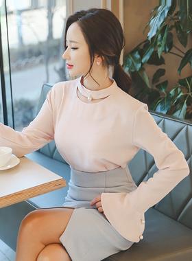 珍珠项链脖子女衬衫