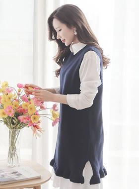 行皱褶长款针织衫马甲连衣裙
