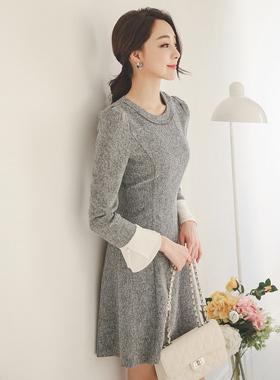 女人珍珠袖口波浪群/喇叭裙连衣裙