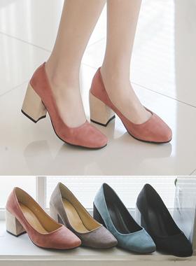 配色厚底鞋浅口式鞋