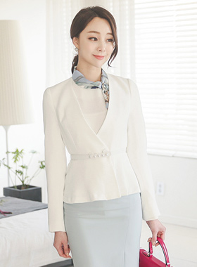明珠线腰带百褶短外套