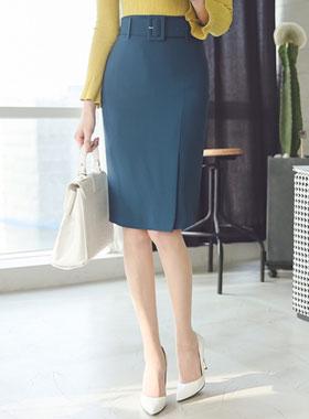 现代的宽腰带缝裙子