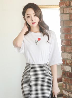 复古/仿旧玫瑰印花短袖T恤