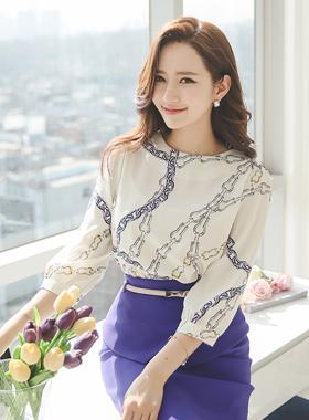 奢华裙链条圆领女衬衫
