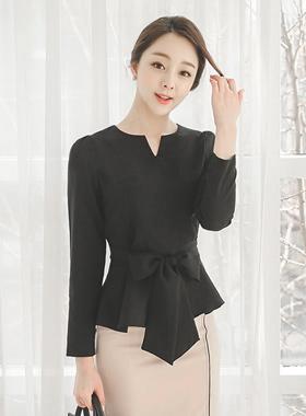 颈部缝蝴蝶结波浪群/喇叭裙女衬衫