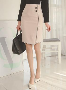 黑色滚边线条裙子