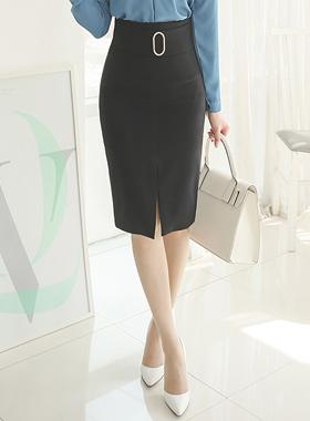 银宽带环缝裙子