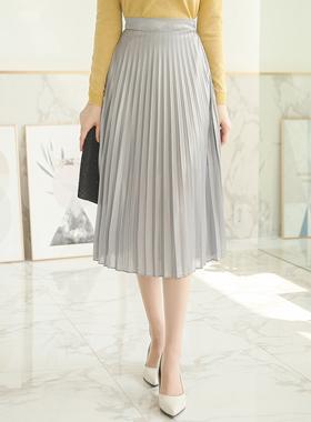 丝毛服务珍珠百褶裙子