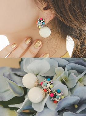 七彩珍珠大朵耳环