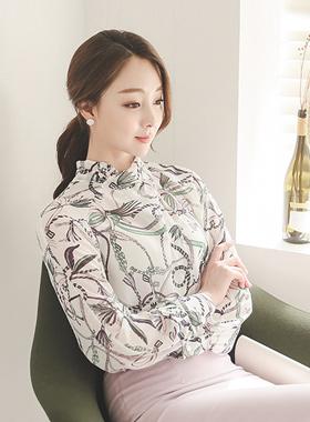 优雅重叠整流罩的脖子女衬衫