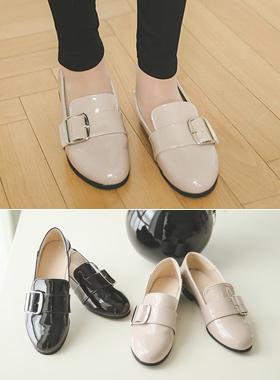 漆皮方扣包子鞋