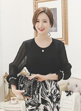 皱薄纱透明珍珠针织衫