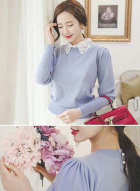 女人褶饰肩圆领针织衫