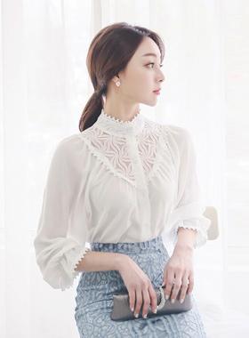 天鹅蕾丝高龄女衬衫
