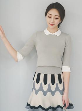 女人领配色针织衫