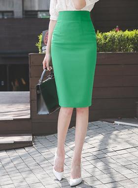 绿茵修身高腰裙子
