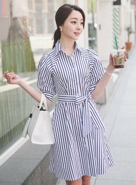 维维安条纹衬衫连衣裙