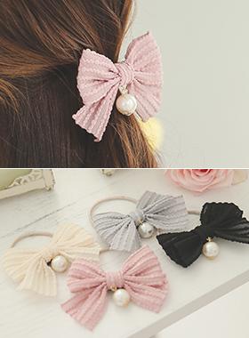 爆米花线珍珠及蝴蝶结发带