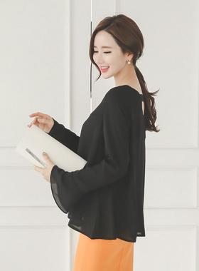 Baekbyu V字领一个线条长衬衫