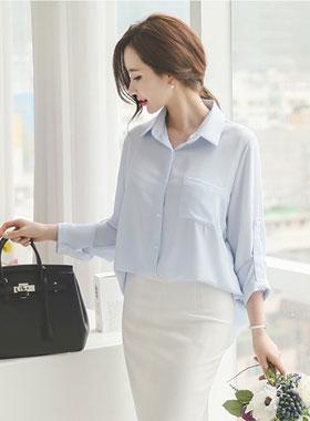 立体裁剪重叠多色女衬衫