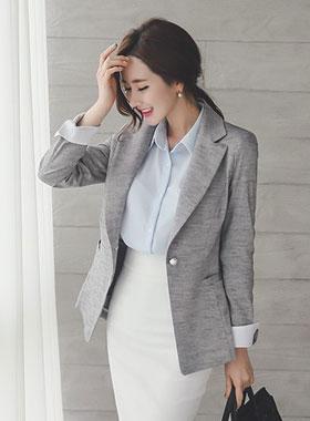 零售彩色珍珠按钮量身定制的西装领型外套