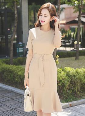 美人鱼广场腰带连衣裙