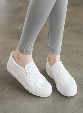 透气鞋印花牛皮松紧帆布鞋