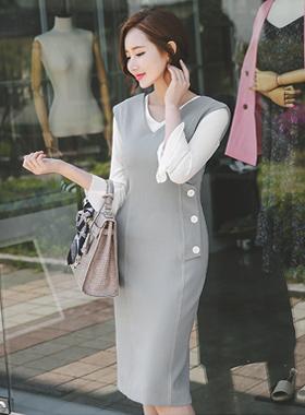 现代缝襟翼按钮连衣裙