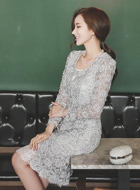 珍珠按钮蕾丝连衣裙&开衫
