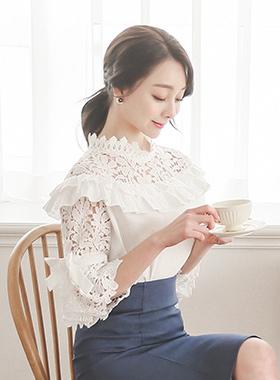 浪漫M.溴原子褶皱女衬衫