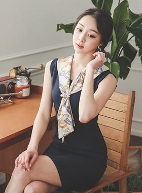 奢华裙肩涡卷围巾连衣裙