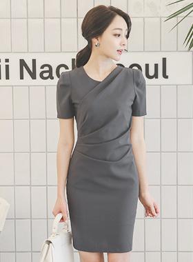 细纹盖布剪切连衣裙(短袖)