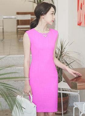 紫红色亚麻斜纹软呢修身连衣裙