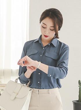 领口袋珍珠按钮女衬衫(7套筒)