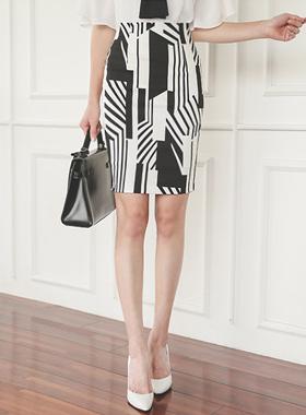几何图形棉弹力裙子