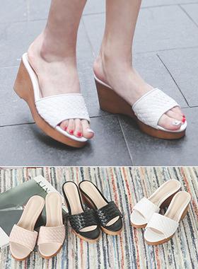 透气鞋坡跟鞋骡子拖鞋