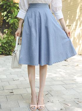 基本的粗斜纹棉波浪群/喇叭裙裙子