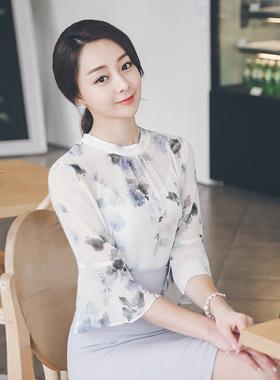 水花女衬衫褶饰领