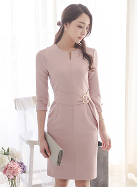 简单缝颈环带连衣裙