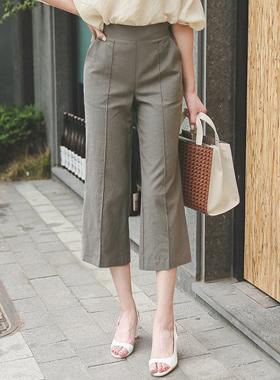 针裥棉亚麻宽短裤