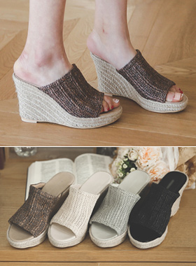 亚麻透气鞋坡跟鞋骡子拖鞋
