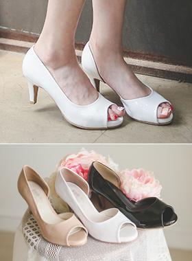 爱丽丝漆皮鱼嘴鞋浅口式鞋