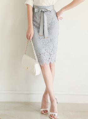 奢华裙缎面腰带蕾丝裙子