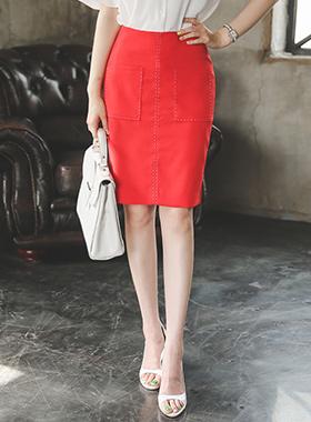 箱口袋缝裙子